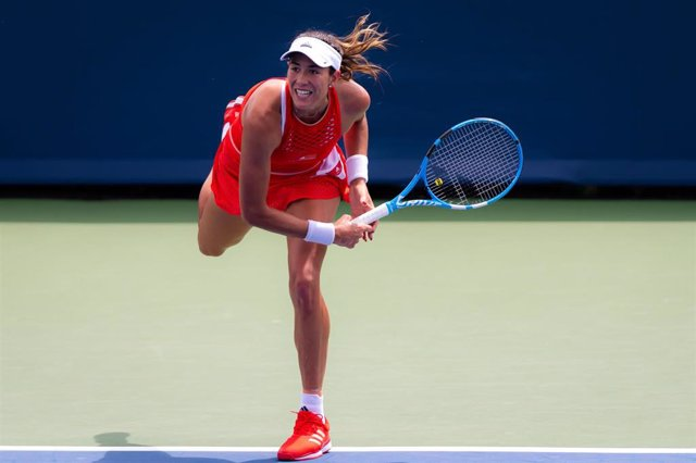 Garbine Muguruza of Spain in action during her first-round match at the 2019 Western & Southern Open WTA Premier Tennis 5 Tournament against Madison Keys of the United States