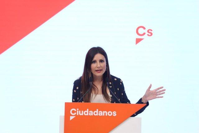 La portaveu nacional de Cs, Lorena Roldán, ofereix una roda de premsa posterior a la primera reunió del Comit Permanent del seu partit i després de conixer-se la previsió d'eleccions per al 10-N, a Madrid (Espanya), a 23 de setembre de 2019.