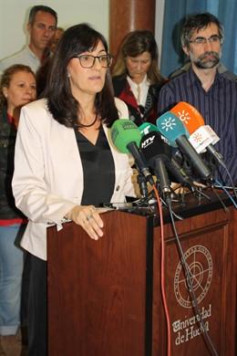 La candidata al rectorado de la UHU, María Antonia Peña.