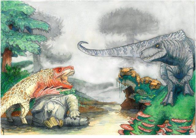 Depredadores como cocodrilos aterrorizaron a los dinosaurios herbívoros