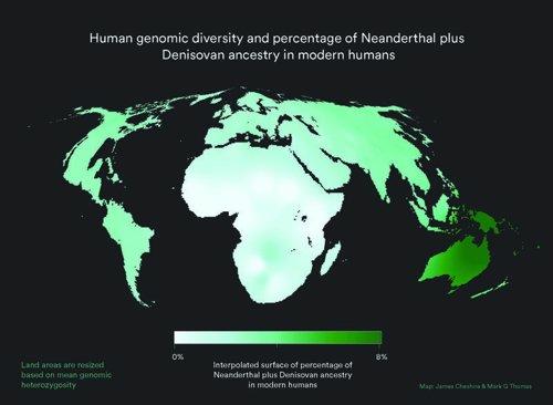 Diversidad genómica humana por continentes
