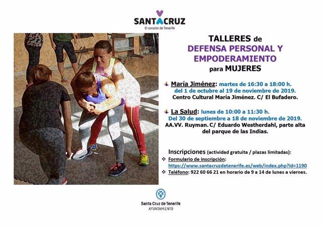 Cartel que anuncia unos talleres de empoderamiento de la mujer en Santa Cruz de Tenerife