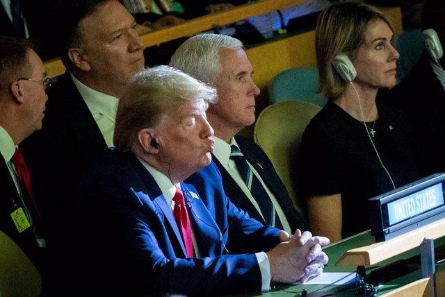 El president dels Estats Units, Donald Trump, amb el vicepresident, Mike Pence, i el secretari d'Estat, Mike Pompeo, a la Cimera del Clima de l'ONU.