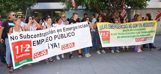 Movilización del sindicato CCOO para el 112