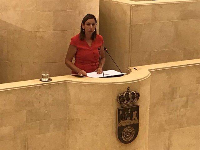 La consejera de Economía y Hacienda, María Sánchez, contesta a una interpelación en el Parlamento