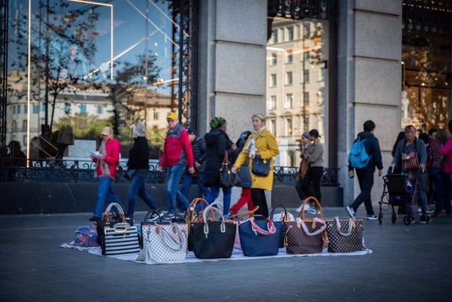 Punt de venda ambulant al centre de Barcelona