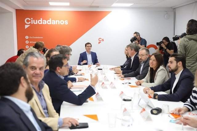 El presidente de Ciudadanos, Albert Rivera, preside una reunión de la Ejecutiva Permanente en la sede del partido.