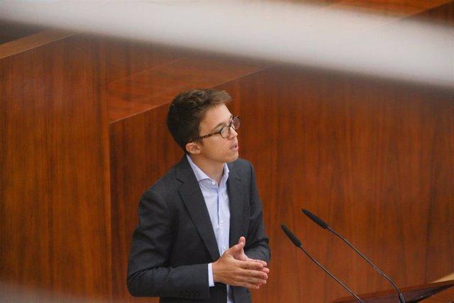 El portavoz de MásMadrid en la Asamblea de Madrid, Íñigo Errejón, interviene durante el debate del segundo pleno de la investidura de la candidata del PP a la Presidencia de la Comunidad de Madrid en la Asamblea madrileña.
