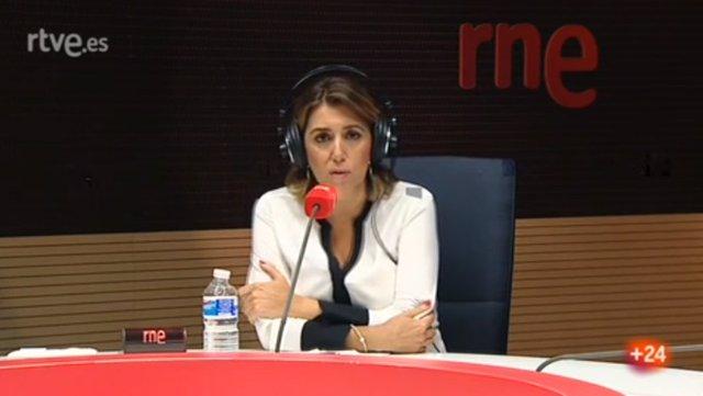 La secretaria general del PSOE-A, Susana Díaz, durante la entrevista