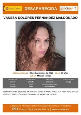 Cartel que alerta de la desaparición de Vanesa Fernández