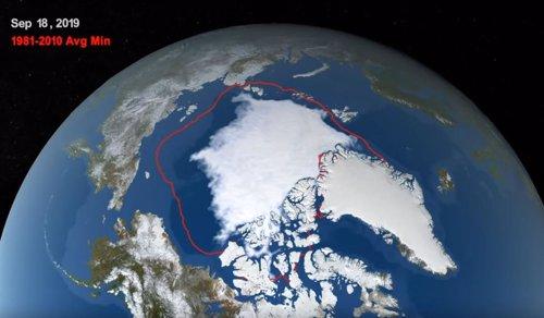 Mínimo de hielo en el Ártico de 2019 y comparación con la media de 1981-2010