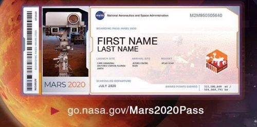 Tarjeta de embarque de Mars 2020