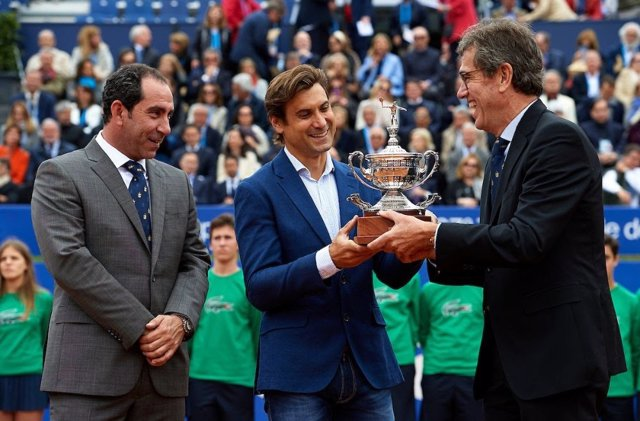 Costa, Ferrer y Cambra, en el Barcelona Open Banc Sabadell 2019 en el homenaje a Ferrer