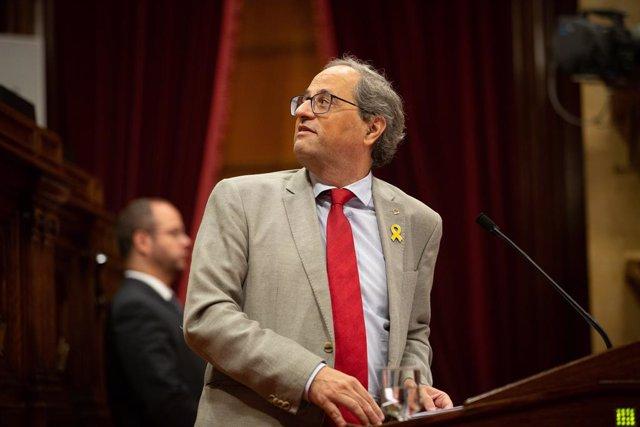 El president Quim Torra intervé en el ple del Parlament de Catalunya