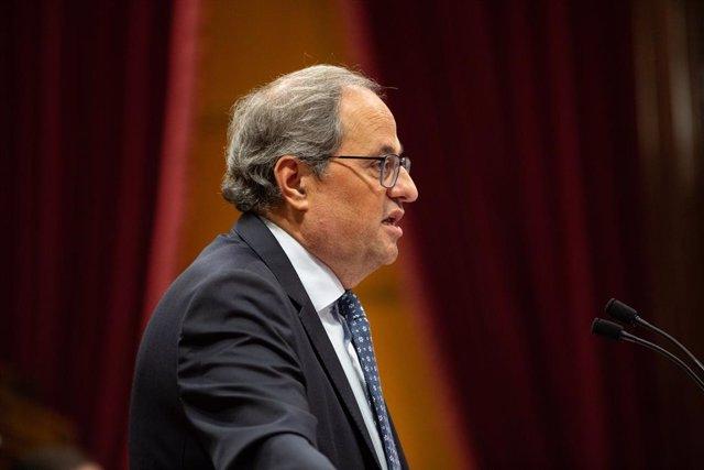 El president de la Generalitat, Quim Torra, durant la seva intervenció en el debat sobre política general al Parlament de Catalunya, a Barcelona, a 25 de setembre de 2019.