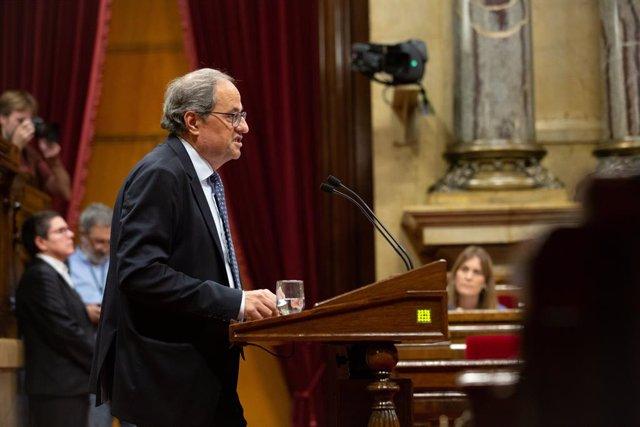 El president de la Generalitat, Quim Torra durant la seva intervenció en el debat sobre política general al Parlament de Catalunya, a Barcelona, a 25 de setembre de 2019.