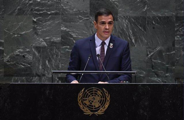 El president del Govern en funcions. Pedro Sánchez, en el seu discurs davant l'Assemblea General de l'ONU