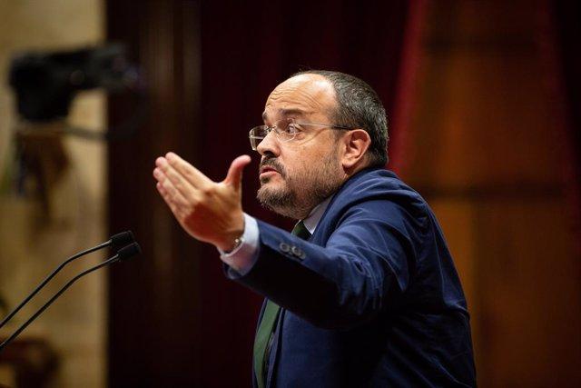 El president del PP catal, Alejandro Fernández, en el Debat de Política General del Parlament.
