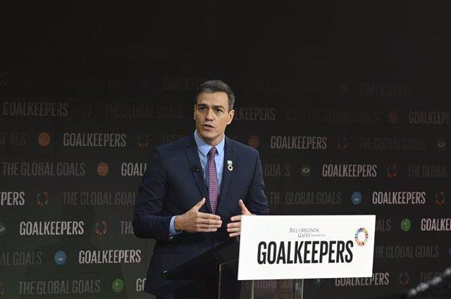 El presidente del Gobierno en funciones, Pedro Sánchez, durante su intervención en el acto Goalkeepers sobre lucha contra la desigualdad global, de la Fundación Bill y Melinda Gates, en Nueva York (EE.UU), a 25 de septiembre de 2019.