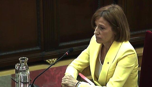 L'expresidenta del Parlament de Catalunya, Carme Forcadell, durant la seva intervenció davant el Tribunal Suprem, en l'última jornada del judici del procés.