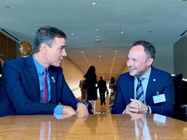 El president del Govern espanyol Pedro Sánchez i el cap del Govern d'Andorra Xavier Espot sere úne en les Nacions Unides