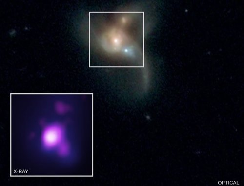Tres agujeros negros en curso de colisión