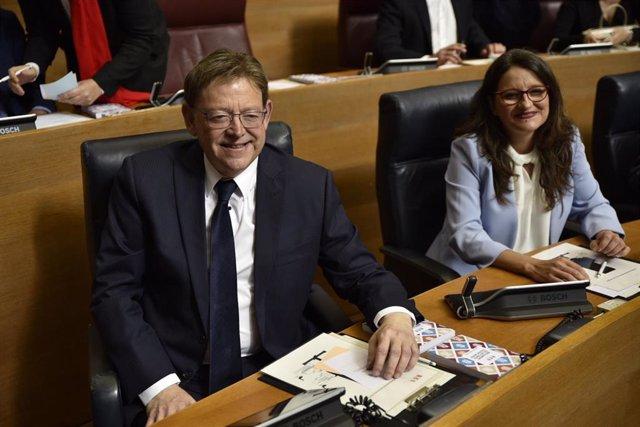 El presidente y vicepresidenta de la Generalitat valenciana, Ximo Puig y Mónica Oltra, en imagen de archivo durante el Pleno de constitución de la X Legislatura en Les Corts valencianas