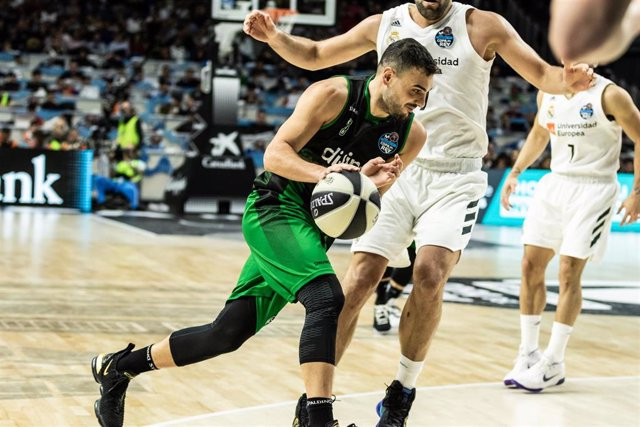 Albert Ventura, #14 of Divina Seguros Joventut during the Copa del Rey ACB match between Real Madrid and Divina Seguros Joventut at WiZink Center Arena, in Madrid, Spain. February 16, 2019.