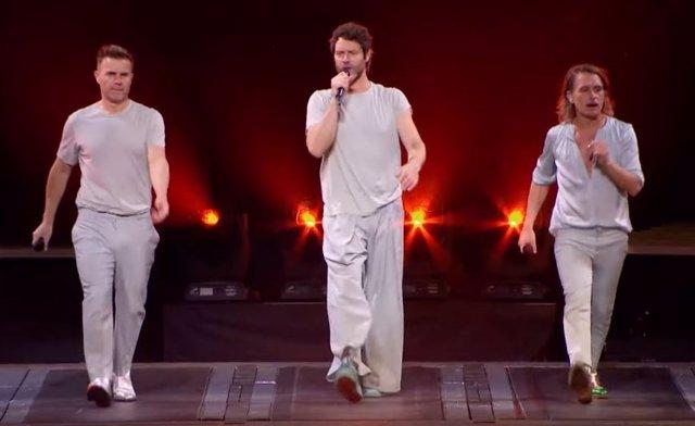 Take That durante la filmación del concierto