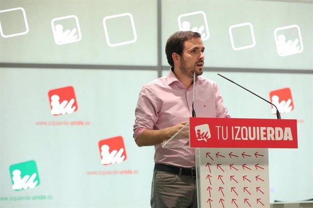 El coordinador general de Izquierda Unida, Alberto Garzón, durante la celebración de la Asamblea Político y Social de IU para ratificar si concurre o no en coalición con Podemos a las elecciones del 10-N, en Madrid (España), a 26 de septiembre de 2019.