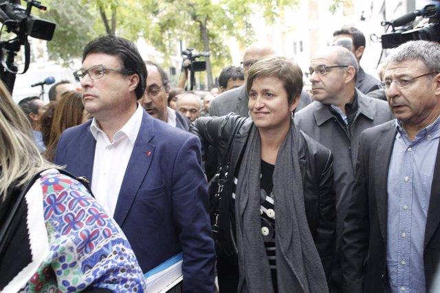 Joan Josep Nuet i Anna Simó, antics membres de la Mesa del Parlament, assisteixen al Tribunal Suprem