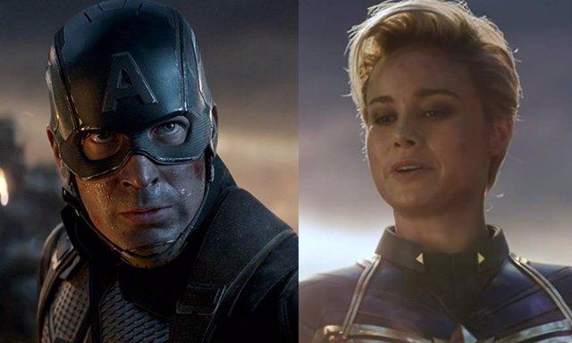 Chris Evans y Brie Larson en Vengadores: Endgame