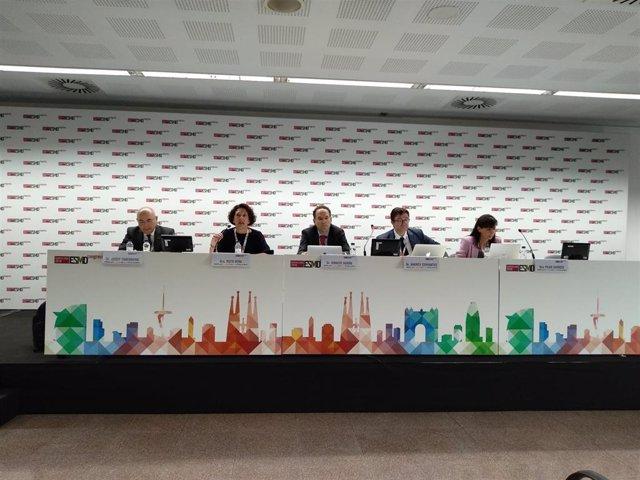 J. Tabernero, R.Vera, I.Durán, A.Cervantes y P.Garrido en rueda de prensa en el ESMO Barcelona 2019
