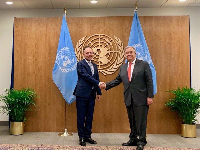 El secretari general de l'ONU, António Guterrez, i el cap del Govern d'Andorra, Xavier Espot.