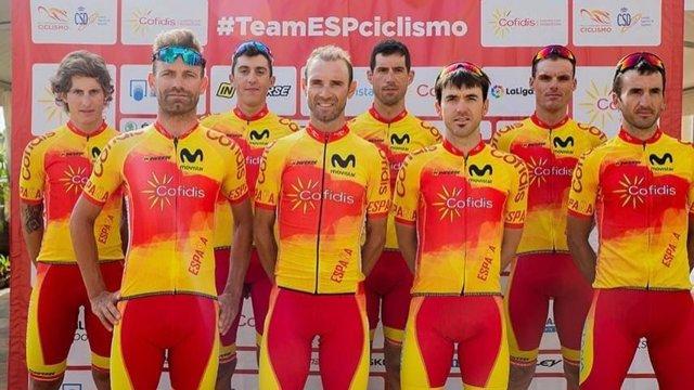 La selección española de ciclismo para el Mundial de Yorkshire (Inglaterra), encabezada por Alejandro Valverde