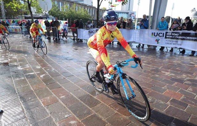 Ane Santesteban, en el Campeonato del Mundo de ciclismo en carretera.
