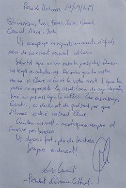 Carta de Jordi Cuixart (Òmnium Cultural) des de la presó als CDR detinguts