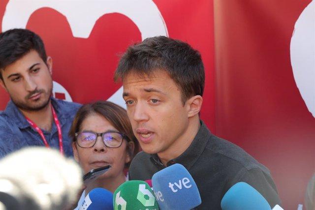 El líder de Més País, Íñigo Errejón, intervé davant els mitjans de comunicació durant l'acte de clausura de l'aniversari dels 130 anys d'UGT a Madrid (Espanya) a 29 de setembre de 2019.