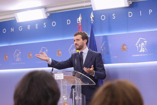El president del PP, Pablo Casado, ofereix una roda de premsa posterior a la seva reunió amb el Rei per proposar candidat a la Presidncia del Govern, al Congrés dels Diputats, Madrid (Espanya) a 17 de setembre de 2019.