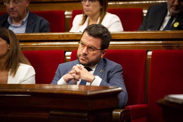 El vicepresident de la Generalitat, Pere Aragonès, durant el debat sobre política general, al Parlament de Catalunya, a Barcelona, a 25 de setembre de 2019.