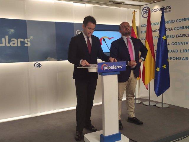 El secretari general del PP, Teodoro García Egea, i el president del PP català, Alejandro Fernández