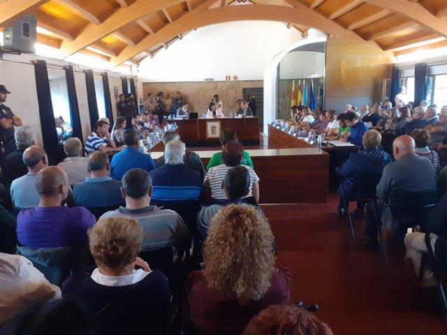 Pleno del Ayuntamiento de Mos en el que se aprobó la modificación del PGOM que permite completar la ciudad deportiva y complejo comercial promovido por el Real Club Celta