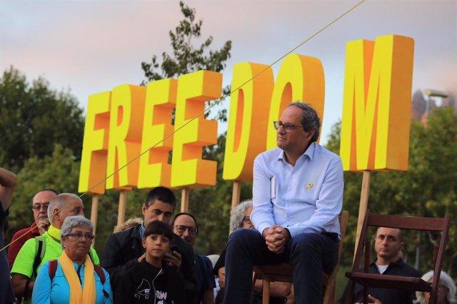 El president de la Generalitat, Quim Torra, aquest dilluns a Montserrat