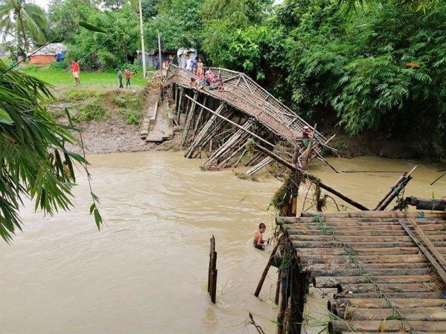 Temporal de lluvias en los campos de refugiados ronhingyas en Bangladesh