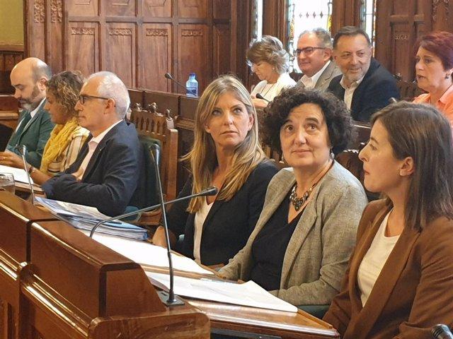 La consejera de Cultura, Política Llingüística y Turismo del Gobierno asturiano, Berta Piñán, durante la Comisión.