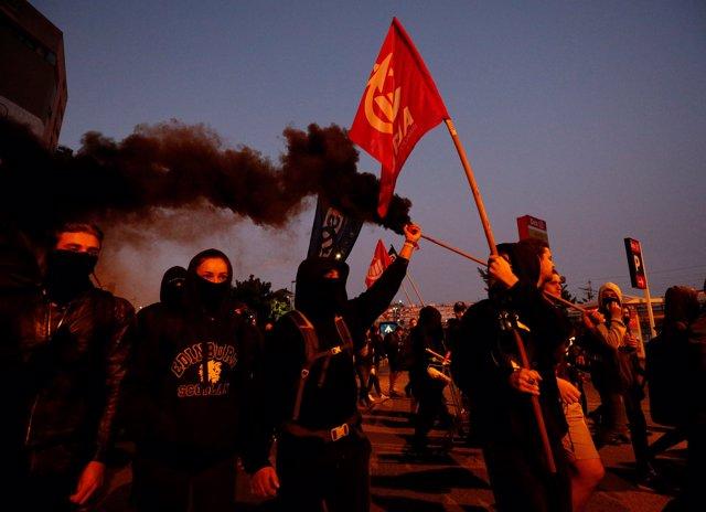 Manifestación de independentista en Girona en el segundo aniversario del referéndum ilegal en Cataluña
