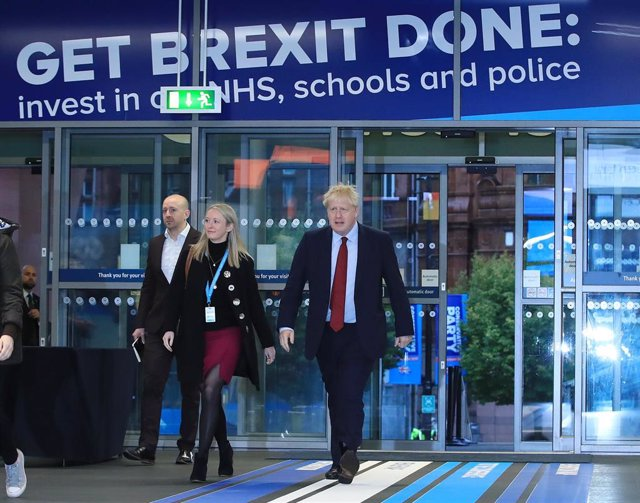 El primer ministro británico, Boris Johnson, en la conferencia del Partido Conservador en Mánchester