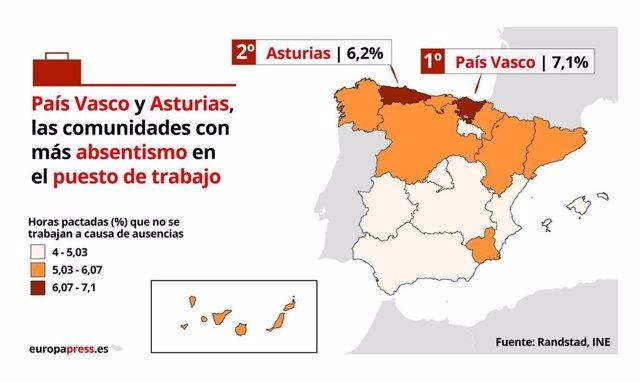 Mapa sobre el absentismo laboral en el primer trimestre de 2019 (Randstad, INE).