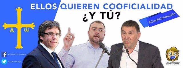 Cartel contra el bable de la Plataforma contra la Cooficialidad en vallas publicitarias en Asturias.