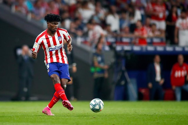 Thomas Teye of Atletico de Madrid during the Spanish League (La Liga) football match played between Atletico de Madrid and Real Madrid at Wanda Metropolitano Stadium in Madrid, Spain, on September 28, 2019.